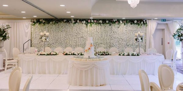wedding drapery and flower walls