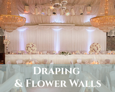 wedding draping and flower walls