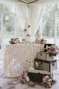 wedding table with wedding cake